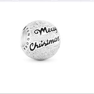 PANDORA SS 'Merry Christmas' Silver Ball Charm NWT